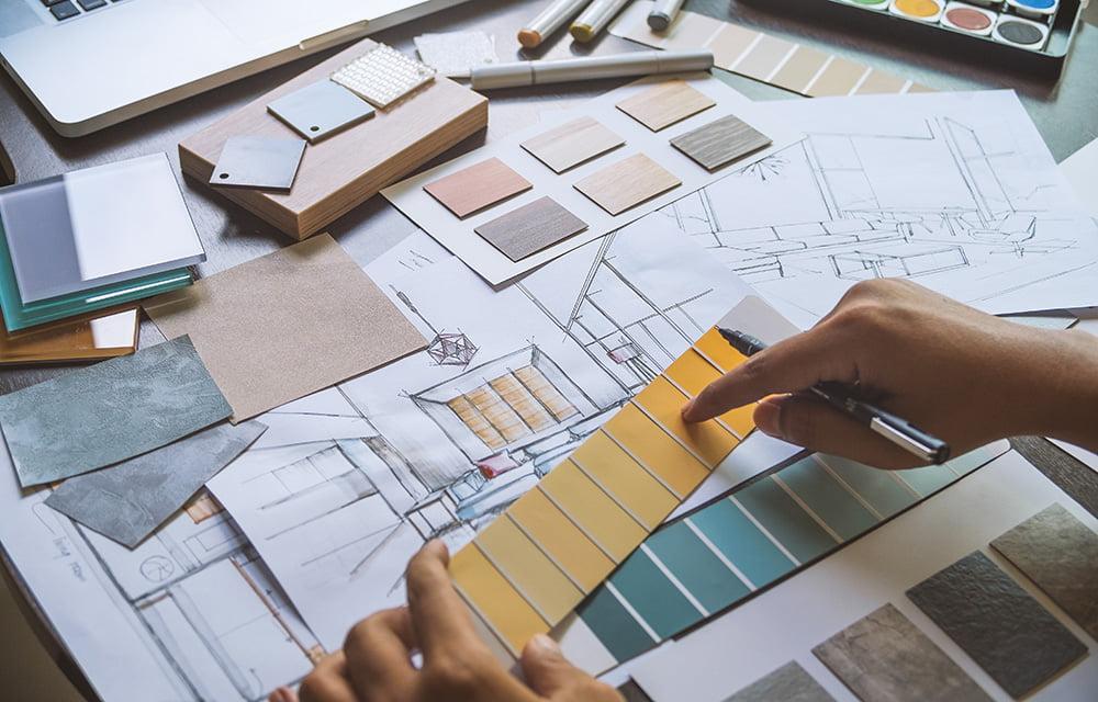 Création de planches d'ambiance décorative par Elégance au m2 (choix des couleurs, du mobilier...)