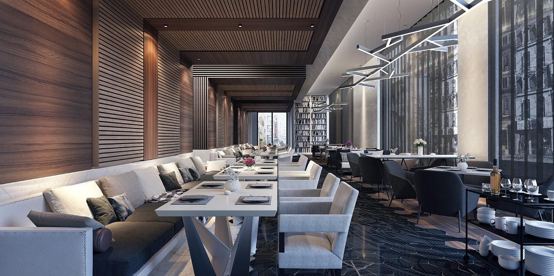 Agencement d'un restaurant chic et moderne par Elégance au m2