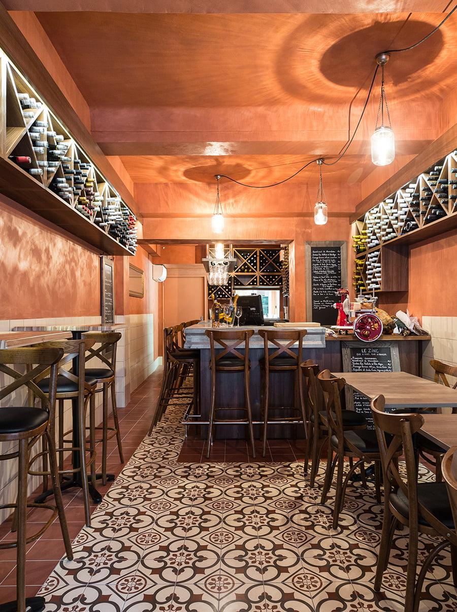 Agencement intérieur d'un bistrot provençal à Aix-en-Provence par Elégance au m2